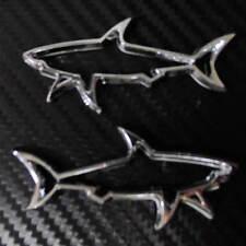 Car Shark Outline 3D logo Side Truck chrome badge emblem sticker 2pcs set