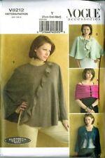 Vogue V8212 Misses Wrap Cape, Shrug Size Y (XS, S, M) Elizabeth Gillett Design