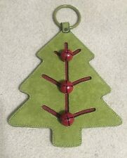 Christmas Tree Green Suede Door Chime w/ 3 Red Bells