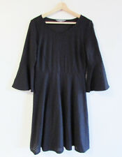 Jacqui E Size 10 Black Stretch Textured Fabric Bell Sleeve Fit Flare Dress