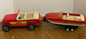 VINTAGE 1970's TONKA RED METAL JEEPSTER  WITH PLASTIC TRAILER AND BOAT