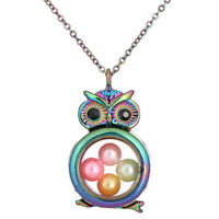 """Animal Owl Memory Locket Floating Glass Beads Cage Charm Steel Chain 20"""""""