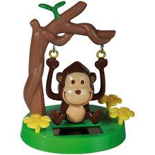 New Solar Powered Swinging Monkey Brown Figure Figurine Home Window Car Ornament