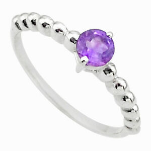 Wholesale Offer 0.94cts Solitaire Natural Purple Amethyst Ring Size 9 T36442