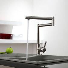 Brushed Nickel Deck-Mount Retractable Pot Filler Kitchen Faucet Stainless Steel