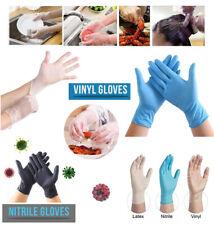 Nitrile Vinyl Gloves Powder Free Food Safe Latex Free Clear/Blue/BLACK Polythene