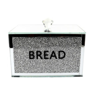 Silver Crushed Diamond Crystal Mirrored Bread Bin Container Sparkly Glitter Gift