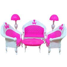 6er Mini Dollhouse Möbel Wohnzimmer Sofa Tisch und Stuhl Set für Barbie-Puppe DE