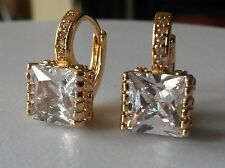 FH Large square white sapphires 18k gold GF French hoop earrings BOXED Plum UK