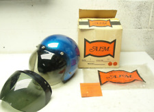 Vintage Blue Metal Flake Glitter Old School Motorcycle Helmet SzL DOT w box!