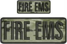 Fire Ems embroidery patch 4x10 and 2x5 hook on back black multicam