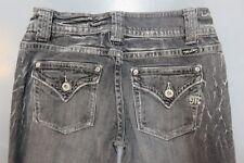 Womens Miss Me Slim Straight Leg Flap Pockets Denim Jeans JP4332 sz 28 Gray