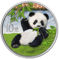 China - 10 Yuan 2020 - Panda - in Farbe - mit Produktkarte - 30 gr. Silber ST