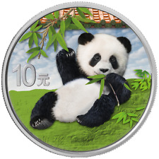 China - 10 Yuan 2020 - Panda - in Farbe - mit Produktkarte - 30 gr Silber ST