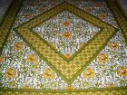 NEW GREEN YELLOW COTTON FLORAL BEDSPREAD BED THROW WALL HANGING QUEEN/DOUBLE