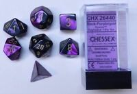 CHESSEX DICE: POLYHEDRAL 7-DIE GEMINI DICE SET - BLACK AND PURPLE W/GOLD