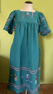 House Dress Muumuu Mexican Woven Southwest Guatemalan Soft Chambray Cozy Green