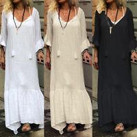 ZANZEA Women Long Flared Sleeve Long Maxi Dress Oversize Pleated Hem Shirt Dress