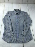 Peter Millar Men's Size Large Checks Button Down 100% Cotton Dress Shirt Blue