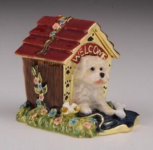 Dog trinket box hand made by Keren Kopal & Austrian crystals Faberge