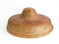 Vintage Chinese Rice Paddy Hat, Woven Rattan Wall Decor, Coolie Hat, Sunhat