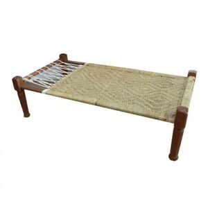 Indian Inspired Tribal Solid Wood Charpai Khat Manjhi Woven Charpoy Daybed XL