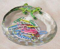 "Lizard Glass Candy Dish with Swarovski Crystals, 4.5"""