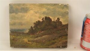 Antique Herbert Fish Cloudy Day Landscape O/C Painting