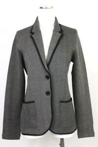 NEW $129 womens gray herringbone tipped ANN TAYLOR blazer jacket knit career M