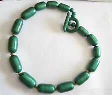 Huge Forest Green Painted Wooden Barrels Chunky Necklace