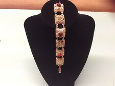 """Art deco style gold tone bracelet with Red And Clear Stones 6.5"""""""