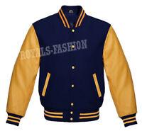 Varsity Letterman Baseball Navy wool  & Genuine Gold Leather Sleeves Jacket
