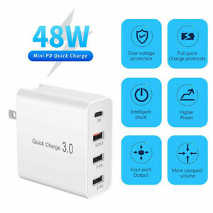 4 Port 48W PD USB-C Fast Wall Plug Quick Charger QC3.0 Adapter For iPhone 13 Pro