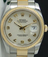 ROLEX - 18kt Gold Stainless Mens DateJust White ARABIC Jubilee 116233 SANT BLANC