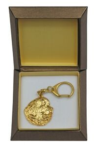 Newfoundland  - gold plated keyring with image of a dog, in box, Art Dog USA