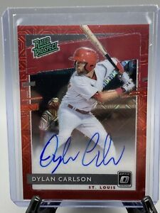 DYLAN CARLSON 2020 PANINI DONRUSS OPTIC RATED PROSPECT RED MOJO PRIZM AUTO 22/99
