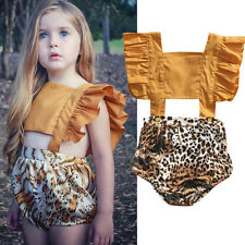 AU Stock Toddler Baby Girl Kid Leopard Bodysuit Romper Jumpsuit Outfits Clothes