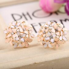 Fashion 1 pair Women Lady Elegant Flower Pearl Rhinestone Ear Stud Earrings Hot