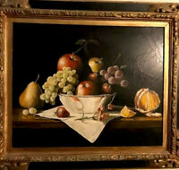 Oil Painting Antique  still life fruit Realistic 22 x 17 Framed signed