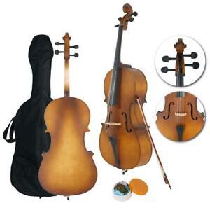 4/4 Full Size Matte Golden BassWood Cello Set with Bag+Bow+Bridge+Rosin