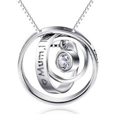 """925 Sterling Silver Diamante Necklace Gift""""Mum I Love U Thank You For All U Do"""""""