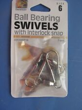Danielson Ball Bearing Snap Swivels with interlock snap Size 6  Lot of 12 cards