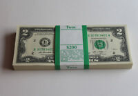 Bundle Of 2013 US New 100 Pieces  $2 Dollars Consecutive Paper Money Notes