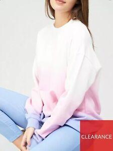 Michelle Keegan Lounge Wear Set Ombré Longline Jumper Leggings Pink Blue Uk M