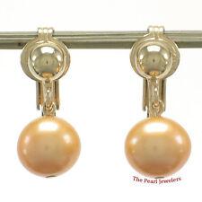 1/20 14k Yellow Gold Filled Non Pierced Clip-On Golden Pearl Dangle Earrings TPJ