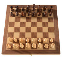 """Magnetic Wooden Chess Board Game Set Hand Crafted Folding Travel Chessboard 12"""""""