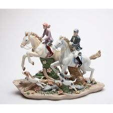 """COLORFUL PORCELAIN """"CALL OF THE HUNT"""" HORSE,DOG,MAN,WOMAN,FIGURINE-20850-NAIS"""