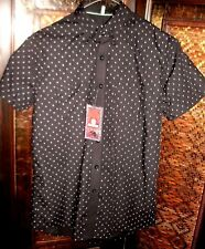 BNWT RRP$100 REACTOR (S) BLACK Expose MEN'S SHORT SLEEVED Button-Up CASUAL SHIRT