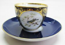 Antique 19th C. Signed KPM German Tea Cup & Saucer w/ Hand-Painted Bird  c. 1890