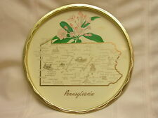 "Vintage Serving Tray Tin Pennsylvania Mountain Laurel 11"" Cities Marked"